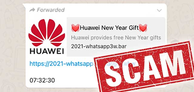 HUAWEI New Year Gift Scam : Don't Click Or Share!