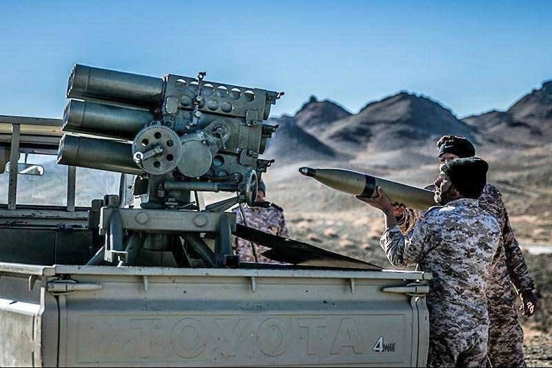 IRGC with Type 63 Rocket Launcher with Haseb rockets