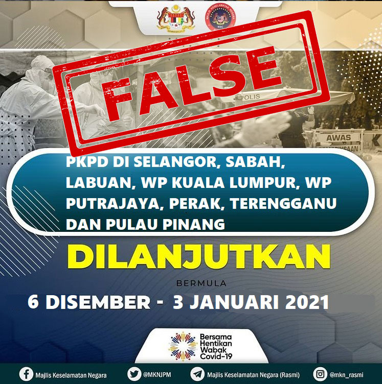 Peninsular Malaysia PKPD Extended To 3 Jan 2021?