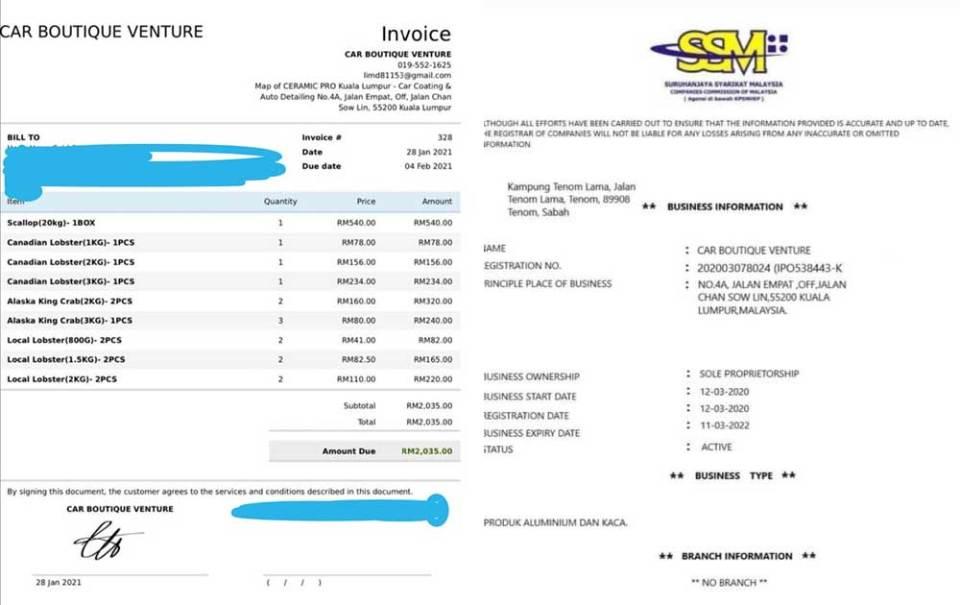 Car Boutique Venture invoice and SSM