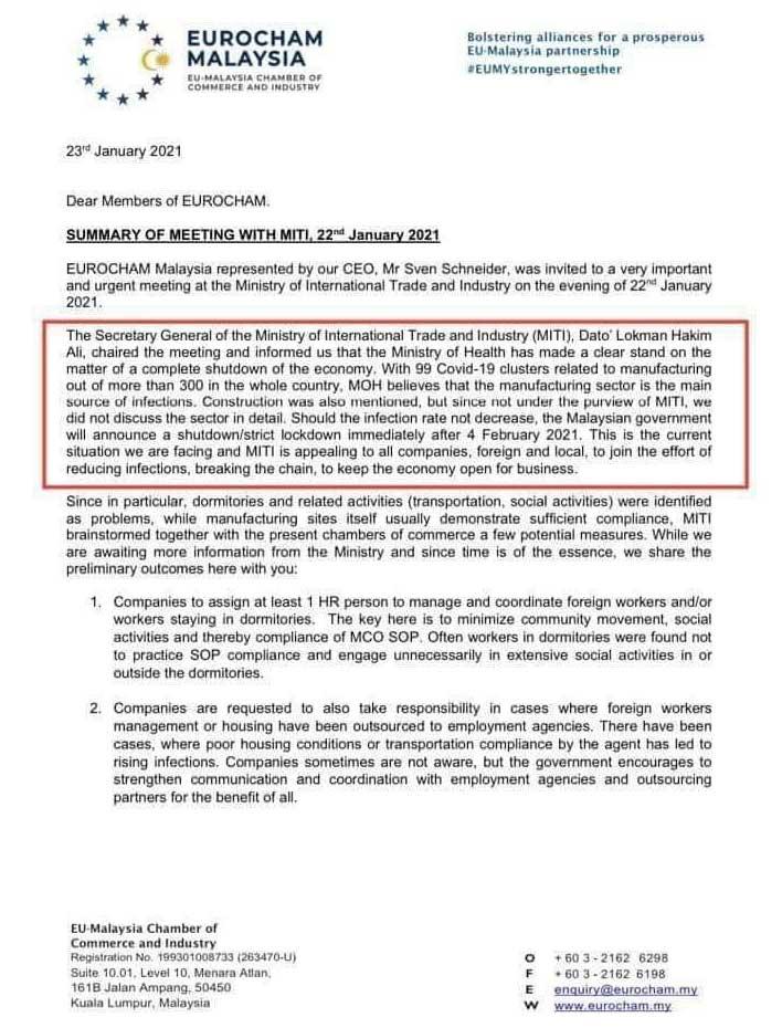 Eurocham MITI leaked document