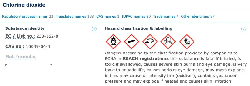 ECHA Chlorine Dioxide danger