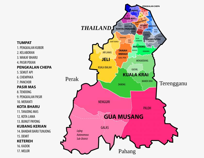 Kelantan district map