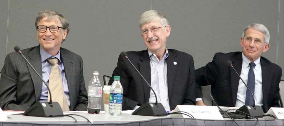 Bill Gates, NIH Director Dr. Francis Collins and NIAID Director Dr. Anthony Fauci