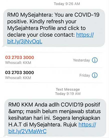 KKM + MySejahtera SMS Messages Are Legit!