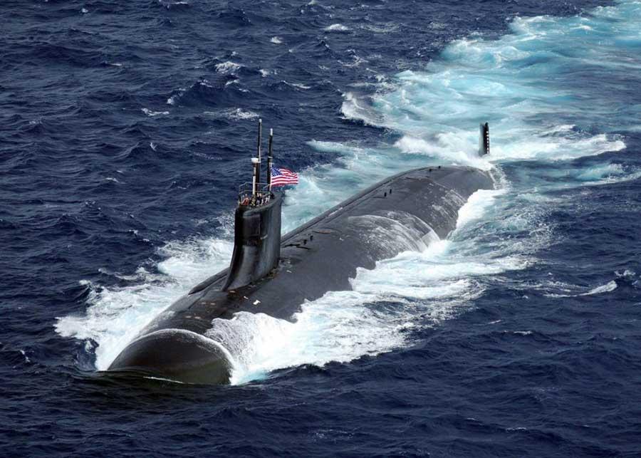 US submarine USS Connecticut sailing on surface