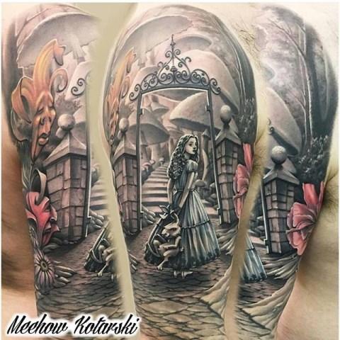 Meehow Kotarski geek tattoo best of tattoo alice wonderland pays merveilles
