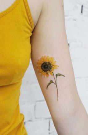 Sunflower tattoos ideas for women (19)
