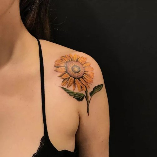Sunflower tattoos ideas for women (28)