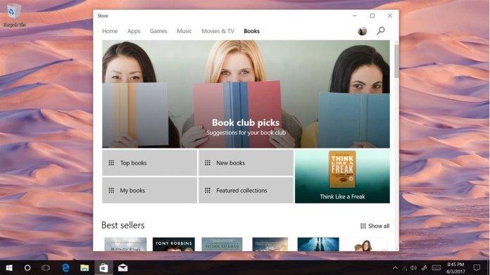 Windows 10 Creators Update Books Store