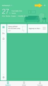 Pagina iniziale Mi Home, la freccia indica il + per aggiungere nuovi dispositivi.