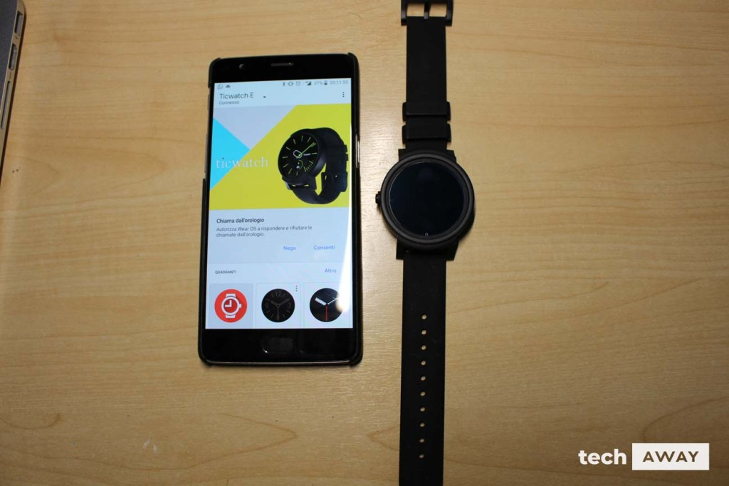 Applicazione WearOS e ticwatch