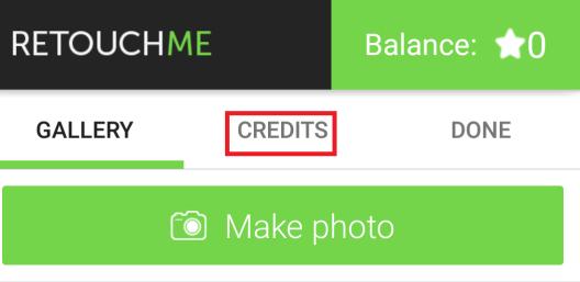 credits tab