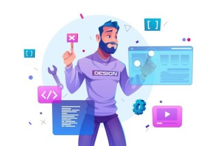 Web development, programmer engineering and coding website on augmented reality interface screens. developer project engineer programming software or application design, cartoon illustration Free Vector