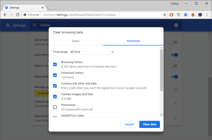 Fix Too Many Redirects Error - Clear Browsing Data
