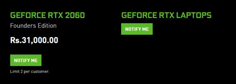 Nvidia RTX 2060 Price