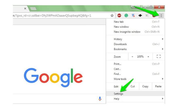 Google chrome browser Settings