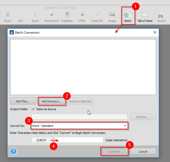 Convert Multiple PDFs to Word
