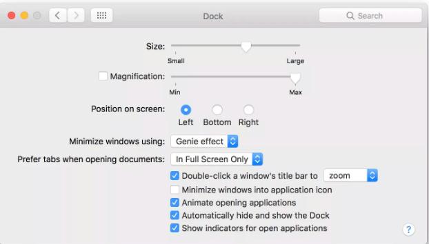Set up MacBook Pro Dock settings