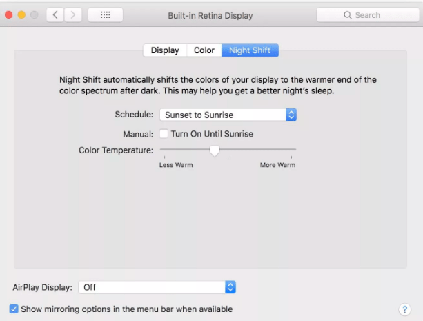 Set up Macos night shift feature