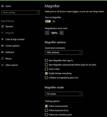 windows magnifier settings
