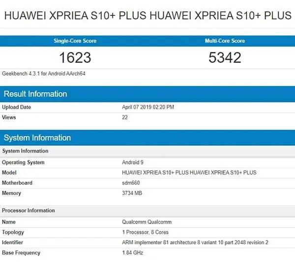 Huawei Xperia plus S10 specs