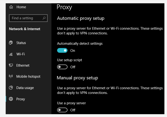 windows network proxy settings