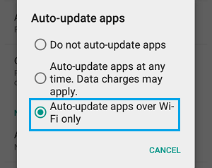 Disable Automatic Android Apps Update