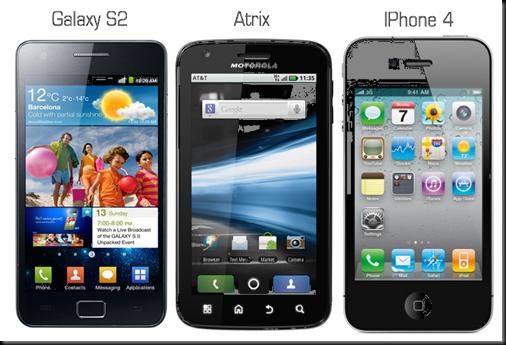 Apple Iphone4 x Motorola Atrix x Samsung Galaxy S2 Tabela comparativa comparativo smartphones iphone 4 x atrix x galaxy s2