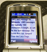 SMS message received on a Motorola RAZR wirele...
