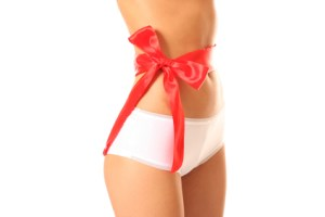 Hot girl with gift wrap on