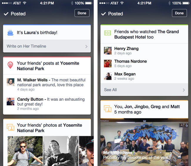 Facebook Is Testing Contextual Google Now-Like Cards on iOS app