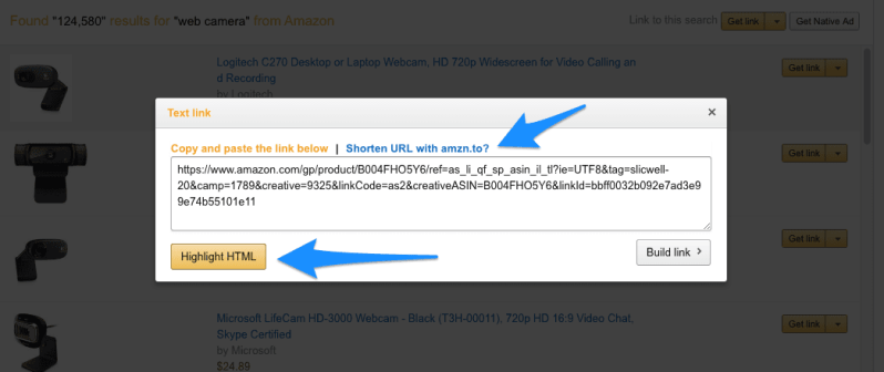 amazon associates product link