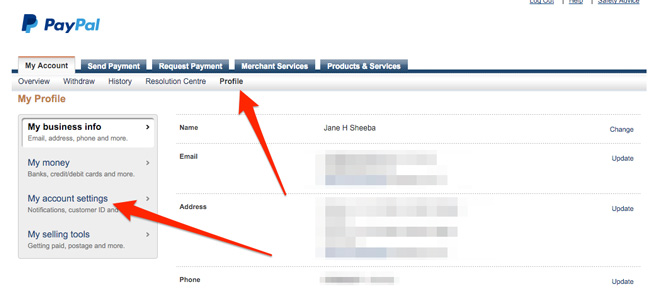Paypal-my-account-settings