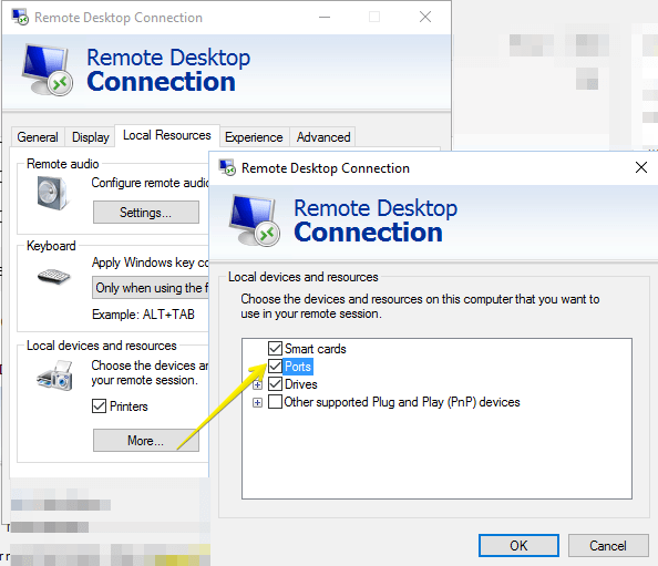 Remote Desktop Connection-local devices and resources