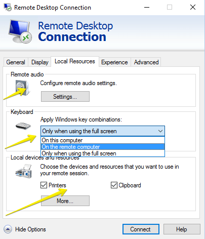remote desktop connection-local resources