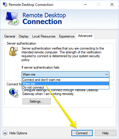 remote desktop connection-advanced
