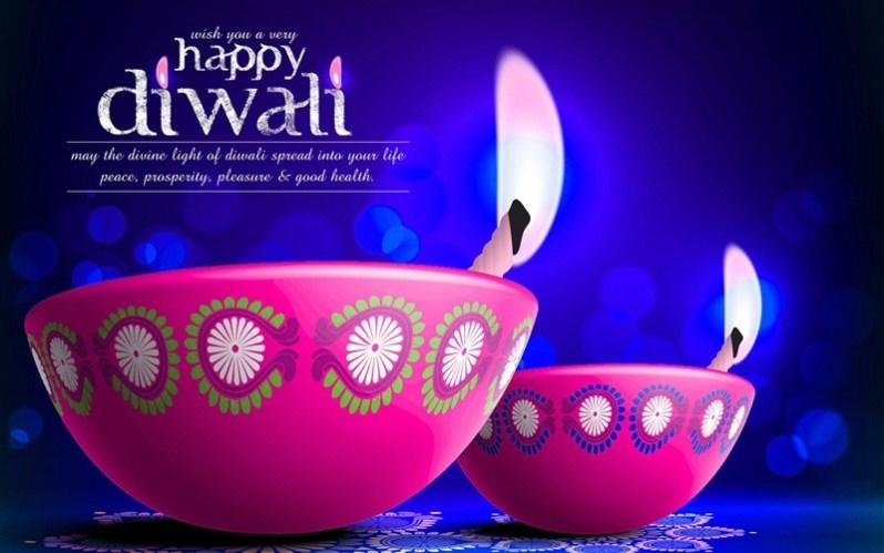 Blue Diwali Wallpaper with Pink Diyas