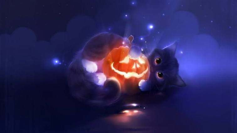 Cat Playing with Jack-O-Lantern
