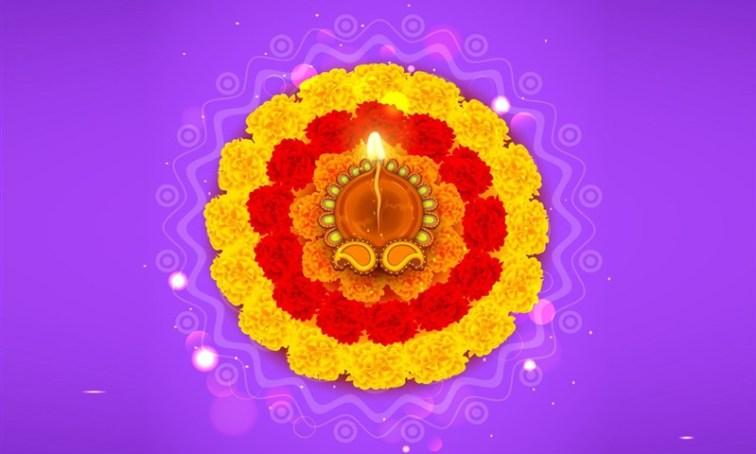 Rangoli made with Flowers