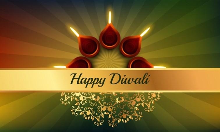 Happy Diwali Background with Rangoli Pattern and Diyas