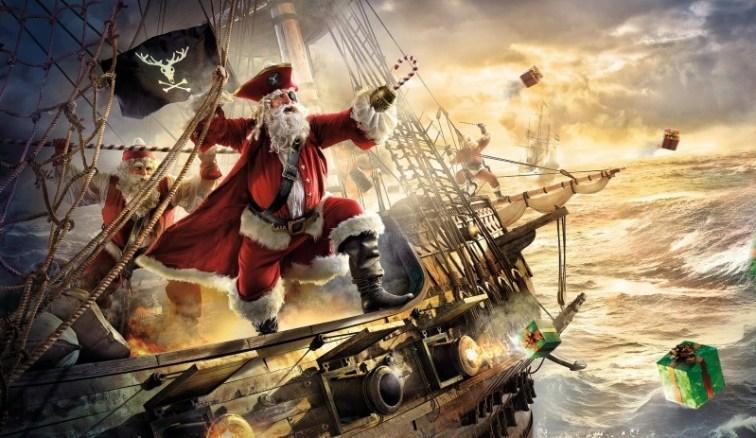Christmas Ship Pirate Funny Santa