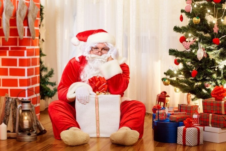 Christmas Gift with Santa and Tree