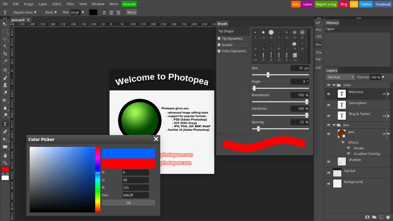 Photopea Online Photoshop Alternative