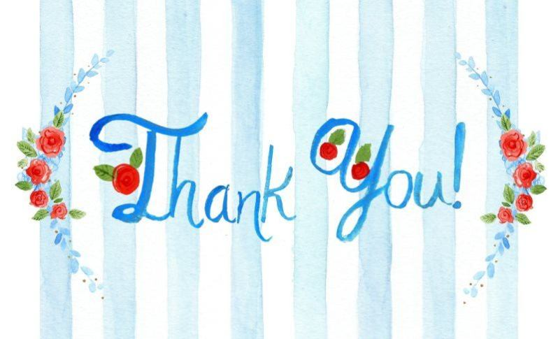 24 thank you watercolor greeting card