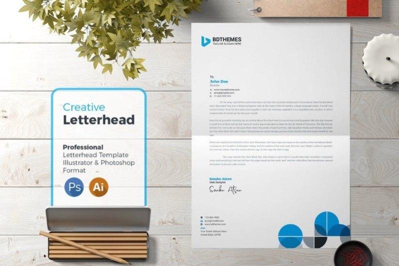 30 Creative Business Letterhead Templates MS Word PSD AI