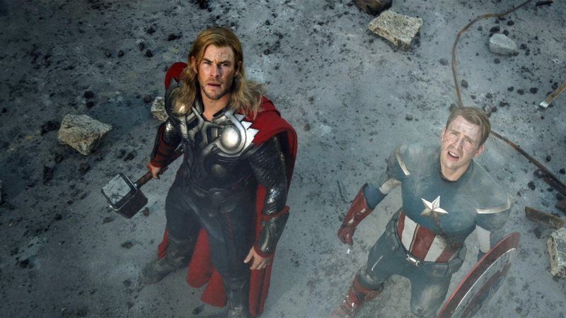Thor Captain America Looking Up