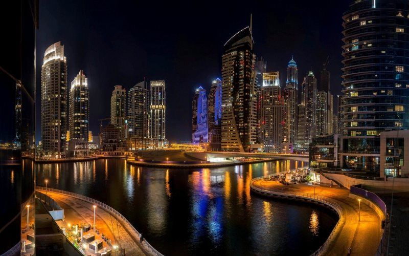 Urban City Night View Background