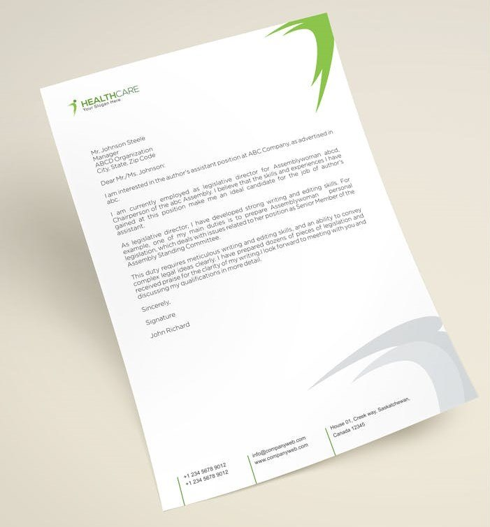 Creative Green and White Letterhead Template