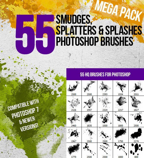 55 splatters smudges and splashes ps brushes